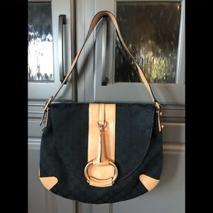 GUCCI BLK Monogrammed Shoulder Bag w/ Natural Trim